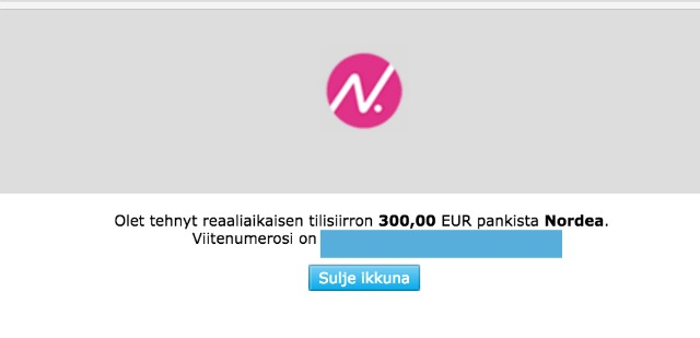 näin sijoitin 300,00 € Nordnet