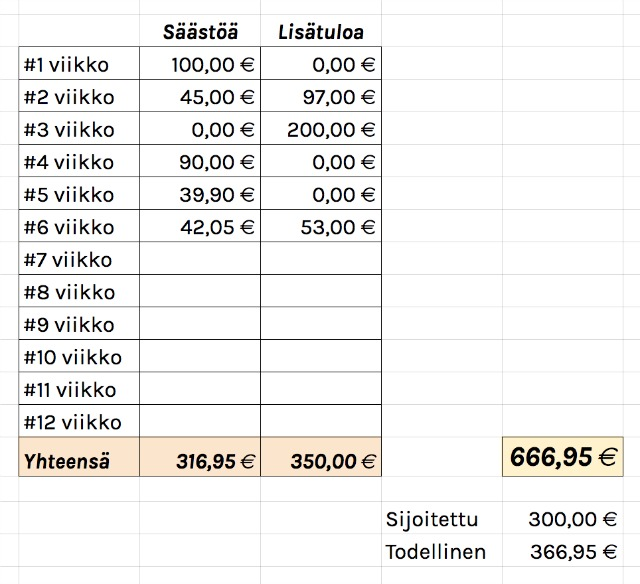 henkilökohtainen talousprojekti viikko 6 tulokset