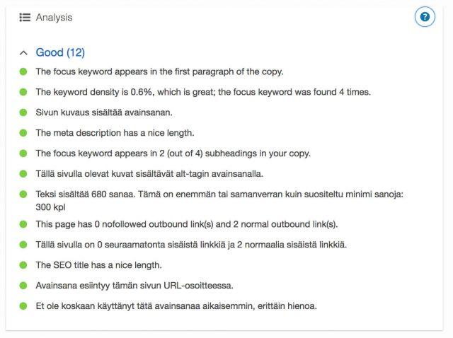 Wordpress blogin SEO optimointi Yoast