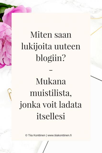 Miten saan lukijoita uuteen blogiin?
