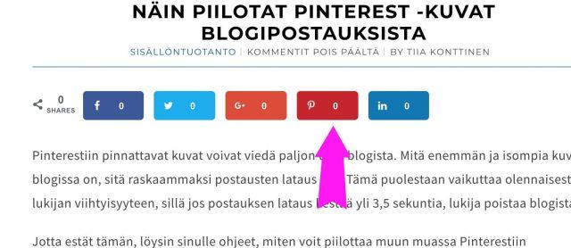 Näin piilotat Pinterest -kuvat blogipostauksista