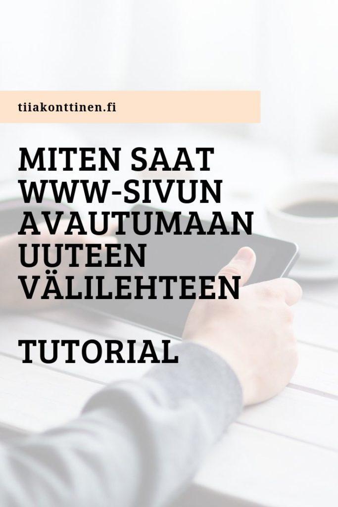Miten saat www-sivun avautumaan uuteen välilehteen